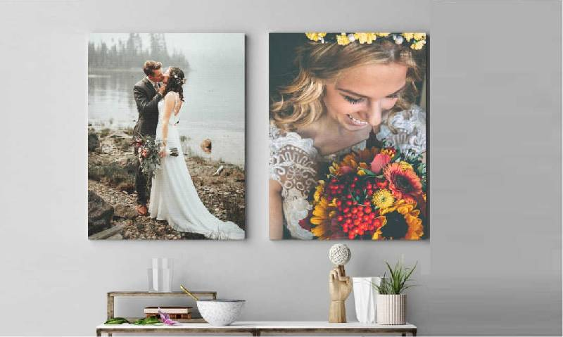 mur de photos de mariage